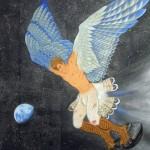 2011年 絹本着彩 黒箔、錫箔  100×100 cm